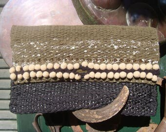 Weaving handbag,rag rug bag,handmade and unique, boho bag,clutch bag