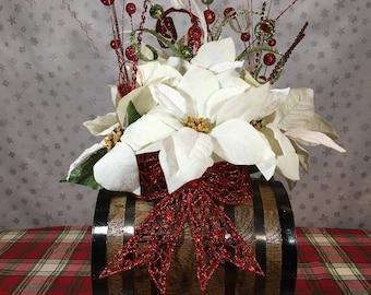 Oak whiskey barrel Christmas arrangement