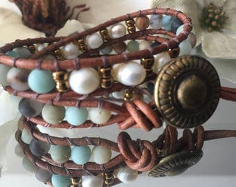 Wrap bracelet 2 turns of freshwater pearls