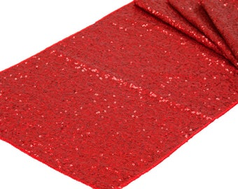 Red Sequin Table Runner Valentines Day Fancy Wedding Table Setting Sale Cloth Sparkly Wholesale Sequin Baby Shower Bridal Glitter Romantic
