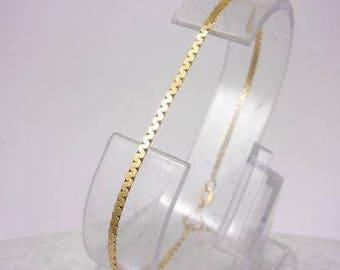 "Solid 14K Yellow Gold Fancy Modified S Link Bracelet 7.25"" 1.6mm 1.6 grams"