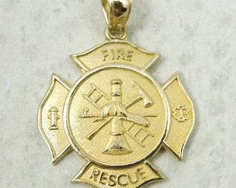 NEW Solid 14K Yellow Gold Firefighter Fire Rescue Pendant Charm, 2.7 grams