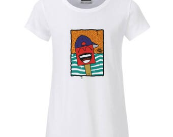 "Girls ' t-shirt white ""shoe with cap"", organic cotton"