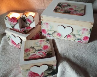 3 Wooden Decoupage Box Jewelry Photos Small Items Gift + 2 Tealight Holder Valentine's Day Wooden Candle Holder
