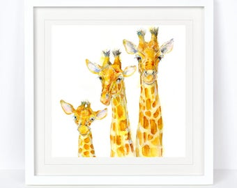 Family Matters - Giraffe Family Limited Edition Print from an Original Sheila Gill Watercolour.Fine Art,Giclee Print,Hand Painted,Home Decor
