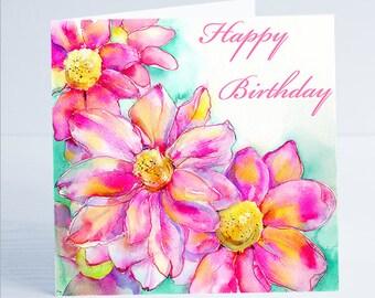 Happy Birthday Pink Daisy Flower Greeting Card