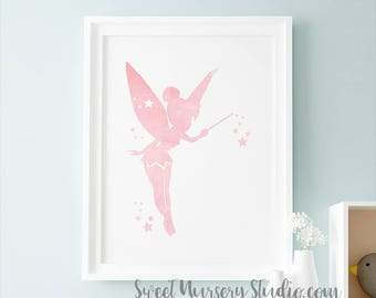 Tinker Bell Art Print, Pixie Tinker Bell Illustration Watercolor, Blush Pink Wall Decor Nursery Wall Room Decoration Tinkerbell Download
