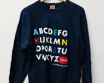 FREE SHIPPING!!! Vintage 90's Hanes Sweatshirt Blue Black Colour Medium Size