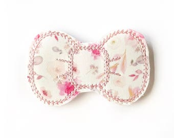Blush Floral Embroidery Bow Snap Clip - Faux Leather - Snap Clips - 50mm Clips - 2.5 inches - Embroidery Bow - Hair Bows