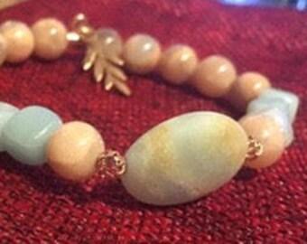 Pink Moonstone & amazonite 8 mm bracelet