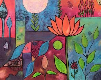 Integrity ,Original acrylic painting , Intuitive painting , lotus flower , yoga art  . Whimsical painting. Canvas Art.