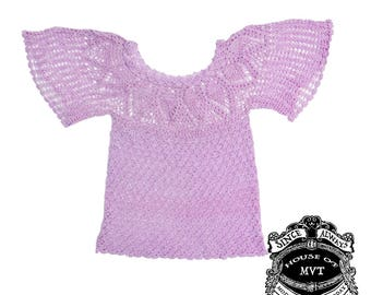Lavender Knit butterfly sleeve top