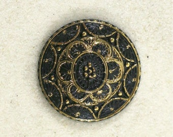 Black and Gold Lacy Style Glass Button-GL-578