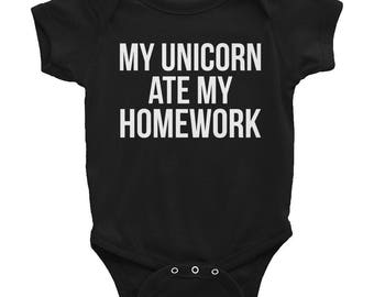 My Unicorn Ate My Homework Infant Body Suit-Unicorn Lover-Unicorn baby-Funny Pregnancy Gift Present-New Mom Mama-Baby Shower-Gift Mother to