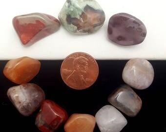 10 Pc Variety Lot - Medium Size - Tumbled Polished Stones - Gemstones