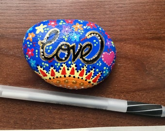 Beautifully painted LOVE river rock