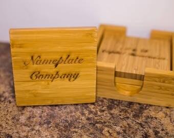 Bamboo Wood Coaster Set (set of 4)