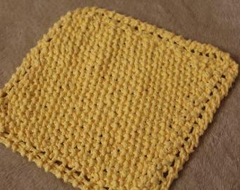 Hand-Knit Yellow Cotton Scrubbing Dishcloth