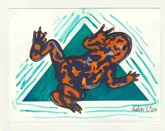 Fire-bellied Toad Original 4.5x6 Gouache Painting