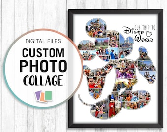 Mickey Mouse Collage, Mickey Photo Collage, Mickey Disney Lover, Disney Photo Collage, Photo Collage Gift, Custom Collage Photo Gift, Pdf