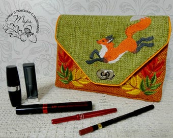 Toiletries bag  Cosmetic bag personalized Makeup bag cosmetic bag makeup makeup bag bridesmaid gift toiletry bag  Fox
