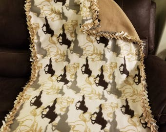Horse fleece lap blanket