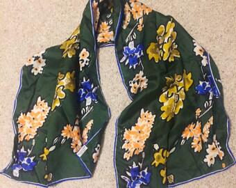 Vintage Vera Silk Scarf- Dark Green Floral