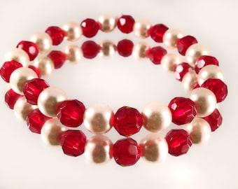 Fresh Water Pearl and Garnet Colored Beaded Bracelet