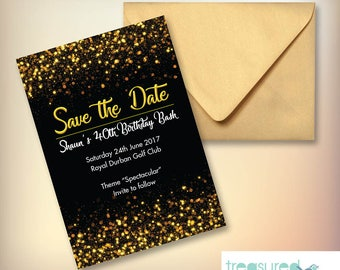 Black Save-the-Date with Glitter Detail