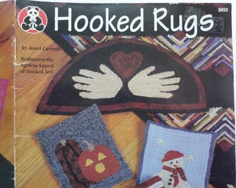 Hooked Rugs how to and pattern book,Folk art rug making