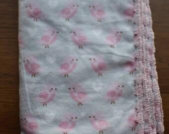 Large Pink Bird Grey Baby Blanket