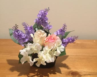 Lavender and Rose arrangement in mini cooking crock