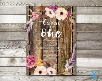 Birthday Invitation, Girl Birthday Invitation, Floral Birthday Invitation, First Birthday Invitation,Rustic Invitation,Rustic Printable, 004