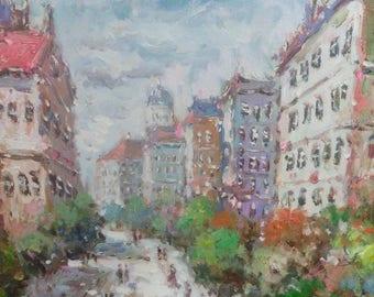 French Landscape Impressionist Cityscape Paris Oil Painting Artist Signed Framed