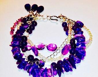 Bracelet, Amethyst, Charoite, Clear Quartz, Fresh Water Pearl