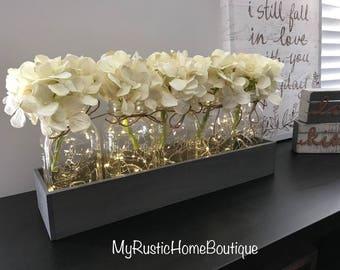 5-Piece Mason Jar Centerpiece/Mason Jar Decor/Lighted Mason Jars/Rustic Home Decor/Farmhouse Decor/Planter Box