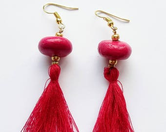 Earrings Disc Fuchsia
