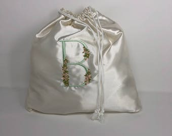 Drawsting Satin Bag with Initial (can be customized any color or Letters )
