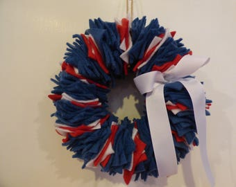 Fabulous Fabric Indoor Wreath - Homemade from FabWreath Co. - NEW YORK RANGERS Theme