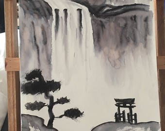 Traditional Sumi-e ink painting