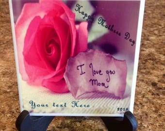 Personalized tile 4x4 Happy Mothers Day I love you Mom