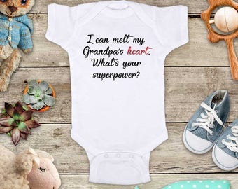I can melt my Grandpa's heart. What's your superpower? - Grandma, daddy mommy Baby bodysuit Toddler Youth Shirt baby shower gift surprise