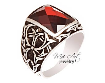 NEW Handmade 925 Sterling Silver Mens Ring   Vintage Collection Facet Cut Ruby Quartz All Sizes EXPRESS SHIPPING