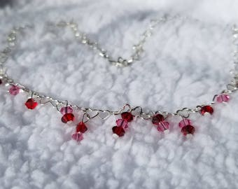Red and Pink Swarovski Crystal Necklace
