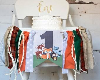 Woodland First Birthday Decor, Fox Highchair Banner, Woodland Animals Banner, Woodland One, Fox Birthday Party, Cake Smash Prop, HC013