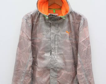 PUMA Small Logo Sportswear Black Orange Vintage Hoodies Windbreaker Size M