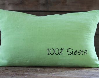 "French handmade pillow 20""x 12"" in pure linen thread 19th. French flax. French linens. Vintage fabric. Antique linens. French green cushion"