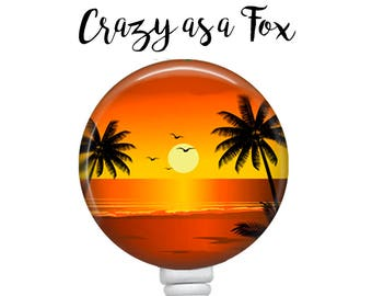 Tropical Sunset Retractable Badge Holder, Badge Reel, Lanyard, Stethoscope ID Tag, Nurse, RN, Doctor, Teacher, Nursing student