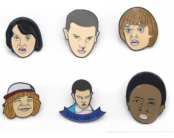 Stranger Things Badges, Eleven Pin, Stranger Things Pins, Character Icon Badges for Backpack, Badges,
