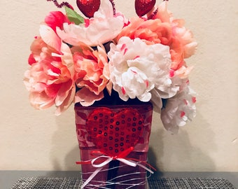 Valentine's Day vase with artificial flowers